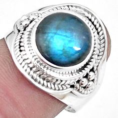 5.52cts natural blue labradorite 925 silver solitaire ring jewelry size 8 p10033