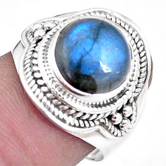 925 silver 6.02cts natural blue labradorite solitaire ring jewelry size 8 p10040