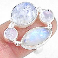 925 sterling silver 13.32cts natural rainbow moonstone ring size 7 p10046