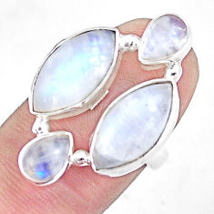 925 silver 12.04cts natural rainbow moonstone marquise ring size 6.5 p10051