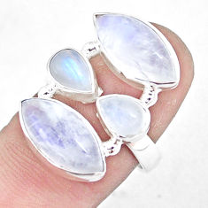 12.64cts natural rainbow moonstone 925 sterling silver ring size 7.5 p10052