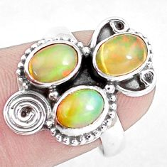 4.43cts natural multicolor ethiopian opal 925 silver ring size 7 p10082
