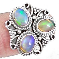 4.69cts natural multi color ethiopian opal 925 silver ring size 7.5 p10096