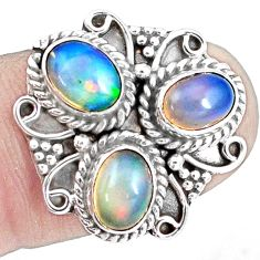 4.92cts natural multicolor ethiopian opal 925 sterling silver ring size 7 p10098