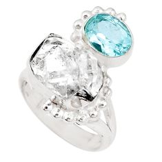 7.36cts natural herkimer diamond topaz 925 silver solitaire ring size 5.5 p10452