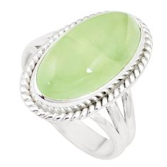 11.97cts natural green prehnite 925 silver solitaire ring jewelry size 10 p10523