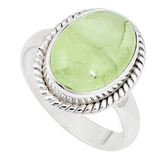 6.04cts natural green prehnite 925 silver solitaire ring jewelry size 8 p10537