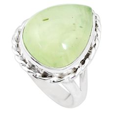 9.72cts natural green prehnite 925 silver solitaire ring jewelry size 7 p10539
