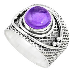 5.63cts natural purple amethyst 925 silver solitaire ring jewelry size 8 p10646