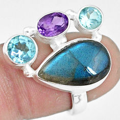 10.37cts natural blue labradorite amethyst topaz 925 silver ring size 7 p10905