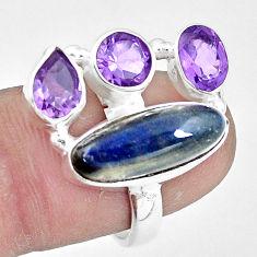 10.37cts natural blue labradorite amethyst 925 silver ring size 7.5 p10907