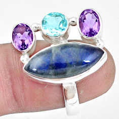 12.65cts natural blue labradorite amethyst topaz 925 silver ring size 7 p10909