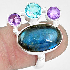 10.38cts natural blue labradorite amethyst topaz 925 silver ring size 6.5 p10911