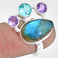 10.01cts natural blue labradorite amethyst topaz 925 silver ring size 7 p10915