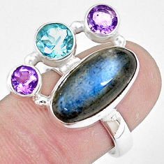 10.70cts natural blue labradorite amethyst topaz 925 silver ring size 8 p10919