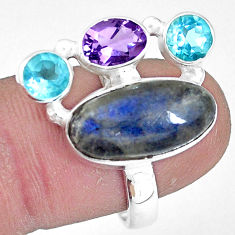 10.70cts natural blue labradorite amethyst topaz 925 silver ring size 7.5 p10920