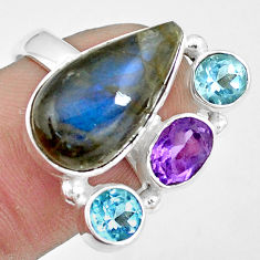 12.40cts natural blue labradorite amethyst topaz 925 silver ring size 7.5 p10921