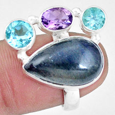 11.25cts natural blue labradorite amethyst topaz 925 silver ring size 6.5 p10927