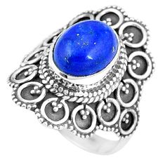 925 silver 4.21cts natural blue lapis lazuli oval solitaire ring size 7 p11085
