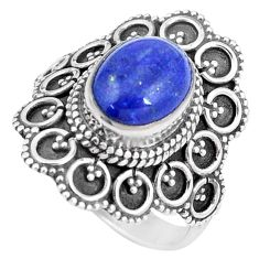 4.55cts natural blue lapis lazuli 925 silver solitaire ring size 8 p11094