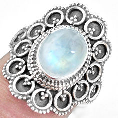 925 silver 4.38cts natural rainbow moonstone oval solitaire ring size 7 p11096