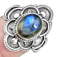 4.40cts natural blue labradorite 925 silver solitaire ring size 7.5 p11119