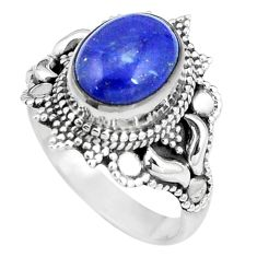 4.52cts natural blue lapis lazuli 925 silver solitaire ring size 7 p11122