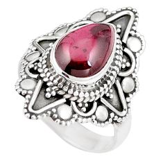 925 sterling silver 3.41cts natural red garnet pear solitaire ring size 6 p11169