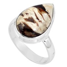 Natural peanut petrified wood fossil 925 silver solitaire ring size 9 p11222