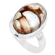 Natural peanut petrified wood fossil 925 silver solitaire ring size 6 p11223