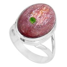 10.81cts natural purple muscovite 925 silver solitaire ring size 8 p11232