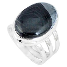12.64cts natural black psilomelane 925 silver solitaire ring size 7 p11237