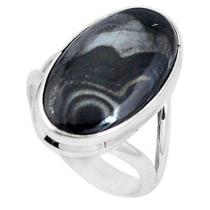 13.77cts natural black psilomelane 925 silver solitaire ring size 8 p11239