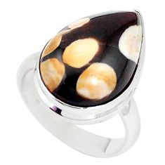 Natural peanut petrified wood fossil 925 silver solitaire ring size 8 p11241
