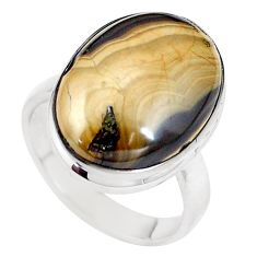 Natural yellow schalenblende polen 925 silver solitaire ring size 8 p11242