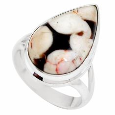 Natural peanut petrified wood fossil 925 silver solitaire ring size 7 p11246