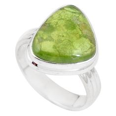 925 silver 9.03cts natural green vasonite solitaire ring jewelry size 8.5 p11254