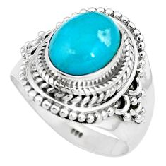 4.22cts natural green kingman turquoise 925 silver solitaire ring size 7 p11303