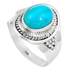 4.38cts natural green kingman turquoise 925 silver solitaire ring size 8 p11305