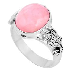 5.53cts natural pink opal 925 silver seahorse solitaire ring size 8 p11317