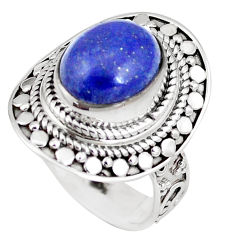 4.68cts natural blue lapis lazuli 925 silver solitaire ring size 8 p11329