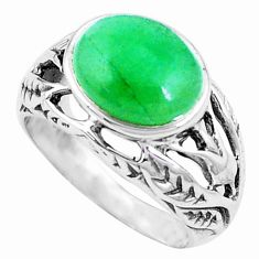 5.30cts green jade 925 sterling silver solitaire ring jewelry size 7.5 p12002