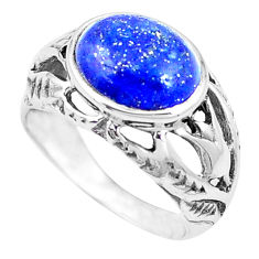 925 silver 5.53cts natural blue lapis lazuli oval solitaire ring size 8 p12011