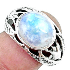 925 silver 4.70cts natural rainbow moonstone oval solitaire ring size 8 p12019