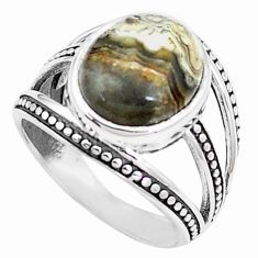 Natural mexican laguna lace agate 925 silver solitaire ring size 6.5 p12030