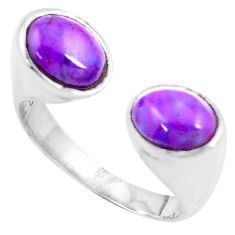Purple copper turquoise 925 silver adjustable solitaire ring size 8 p12052