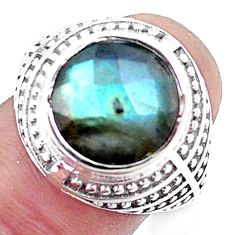 5.72cts natural blue labradorite 925 silver solitaire ring size 7.5 p12079