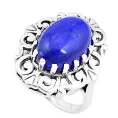 925 silver 7.12cts natural blue lapis lazuli oval solitaire ring size 7 p12102