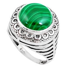 925 silver 7.07cts natural green malachite oval solitaire ring size 7.5 p12132