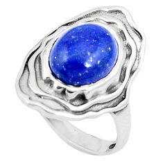 4.40cts natural blue lapis lazuli 925 silver solitaire ring size 7 p12162